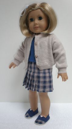 CARDIGAN, SHIRT, & SKIRT Set fits American Girl 18 inch doll