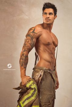 fire starters, eye candi, romance novels, sexi, firefighters, sleeve tattoos, hot, men, ink