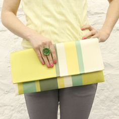 Yellow Striped Clutch