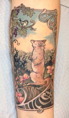 fox, color tattoos, mat, midnight moon, art nouveau tattoo, meredith nh, art nouveaustorybook, ink, storybook tattoo