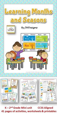 CCSS aligned mini unit for grades K-2nd and homeschoolers.  Includes worksheets, a teacher read, posters, a craftivity, printables, games, and more.  Covers the 4 seasons, 12 months, and how the Earth's rotation and tilt cause the seasons.  This unit also touches on other areas of learning such as spelling, writing and numbers. $