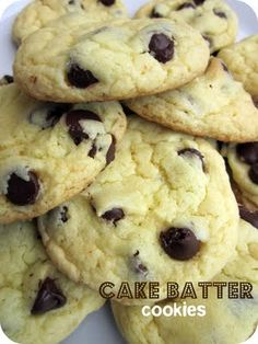 Cake Batter Chocolate Chip Cookies (Recipe from Stephanie Cooks)  Ingredients: 1 (18.25 oz.) box cake mix (I used yellow, but you can use any kind you have!) 1 tsp. baking powder 2 eggs 1/2 cup vegetable oil 1 cup semisweet chocolate chips