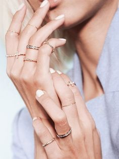 stacked rings + white nails