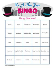 New Years Eve ideas for a great party...It's A New Year Bingo