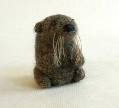 Felted Wool Otter Mini Crochet Plush Toy