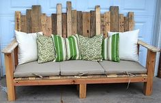 out of pallets .... Love this bench, free possibly, curb side, dumpster diving, behind stores, craigslist... green, repurpose, upcycle project, reclaimed wood YAY!... You can find cheap fabric shower curtains for the seat fabric....  or buy that ugly chair or bench at the yard sale, that has the cute cushions!