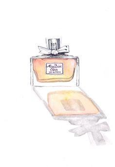 Miss Dior Cherie Painting Watercolor Eau de Parfum Paris Perfume Bottle with bow - Digital Print 6 x 9. $12.00, via Etsy.