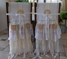 Vintage Lace and Burlap Bride n Groom Chair Covers by FunkyJunkyArt