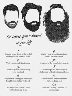 signs your beard is too big