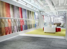 The award-winning Lume e Lustro collection from Milliken features an expanse of 40 colors, from an extensive foundation of subtle neutrals to bright, electric pops and accents. #NeoCon14