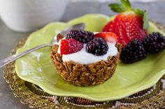 homemade granola bowls with yogurt and berries--great for breakfast or brunch