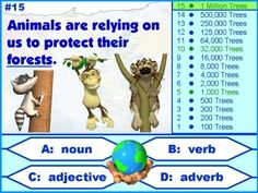 Earth Day Powerpoint Lesson:  A fun game-like activity for Earth Day that reviews parts of speech (nouns, verbs, adjectives, and adverbs).