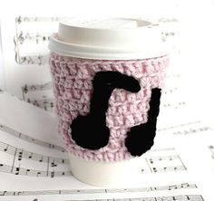 Music Notes travel mug cup cozy coffee crochet by CageFreeFibers