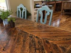 Salvaged-Wood Chevron Table // 5 Cool Woodworking Projects from Blog Cabin 2014 >> http://blog.diynetwork.com/maderemade/2014/10/06/5-cool-woodworking-projects-from-diys-blog-cabin-2014/?soc=pinterest