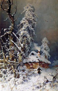Julius von Klever (Юлий Юльевич Клевер, Russian, 1850-1924)    A Winter Landscape with an Izba1880s-90s