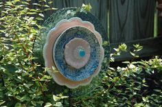 Garden Flower Plate Upcycled Yard Art. $35.00, via Etsy.