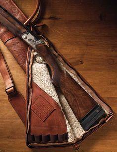 A Beretta in a bison leather gun slip.