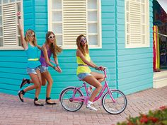 pink summer, beach cruisers, bike rides, beach houses, summer fun
