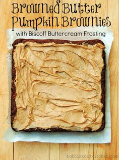 Bobbi's Kozy Kitchen: Browned Butter Pumpkin Brownies with Biscoff Buttercream Frosting