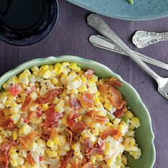 Fried Confetti Corn | Cream, bacon, and sweet peppers take this dish from down-home to top shelf.