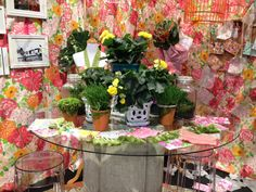 """Our concept of """" Lilly's work table """" as part of our display for the Chicago Flower & Garden Show. All wonderful live fresh flowers, plants and terriums to boot !"""
