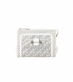 Incredibly chic laser cuts on this all-white clutch. // Jason Wu Daphne Laser-Cut Leather Clutch
