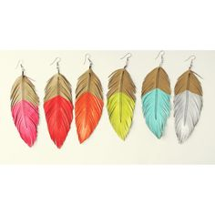 Neon Mohave  Faux Leather Feather Earrings  Surgical by lovesexton, $22.00