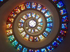 A view of the beautiful stained glass ceiling at Thanksgiving square in Dallas Texas