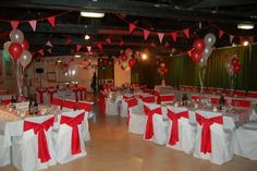 Red and white village fete wedding theme
