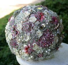 Pink brooch wedding bridal bouquet Deposit on a by annasinclair, $75.00