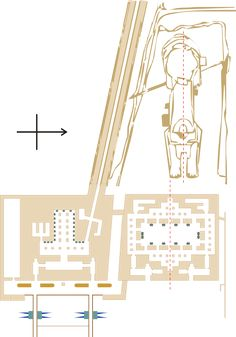 This diagram shows the Sphinx from above. Directly in front of it is the Sphinx Temple, and to its right is the Valley Temple, which has two quays protruding from it (the ones with the blue spikes) which would have brought people into the Giza site by boat and formed the entrance to the entire Giza plateau.