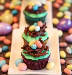Pretty Bird's Nest Cupcake For Easter