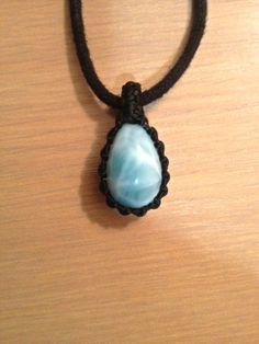 Beautiful ocean pattern larimar macrame pendant by KnotRocks, $42.00