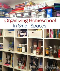 Tight on space for homeschool supplies?  See ideas to get organized even in tiny spaces like this 790 sq ft house(!) with FOUR children! | The Happy Housewife