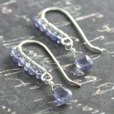 Handmade Jewelry on Etsy - Iolite and Tanzanite Wire Wrapped Earrings s09e157 by lavajewelry