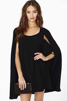 Nasty Gal Angel Cape Dress - Black