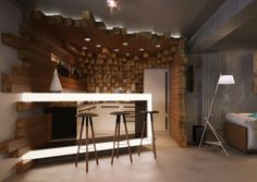 Private lounge in Bulgaria - use as inspiration for #reclaimed #wood walls