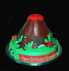 Volcano/dinosaur cake