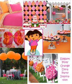 Orange & Pink Dora party