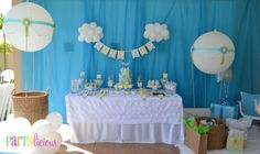 Hot Air Balloon themed Baby Shower - what a fab dessert table!