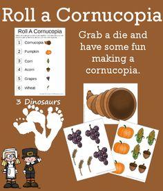 Free Roll A Cornucopia Printable - 3Dinosaurs.com