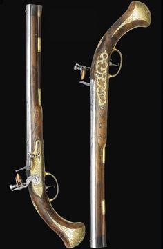 A fine pair of 20 bore Austrian long flintlock holster pistols by johan Schifter, crica 1720