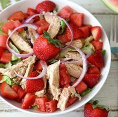 Fresh Watermelon and Chicken Salad #WeekdaySupper #ChooseDreams - A light, healthy, refreshing salad made with watermelon, strawberries, chicken and feta cheese topped with balsamic dressing.