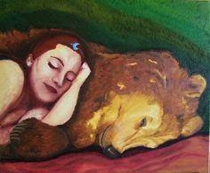 Goddess Artio sleeping with bear, oil, by Alexandra Nereïev