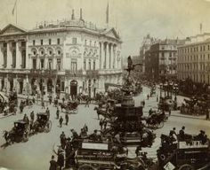 Piccadilly Circus, 1900 : Shaftesbury Avenue, the wide street to the left, was cut through the slums of Soho in the 1880s. The street was named after Lord Shaftesbury, the leading Victorian social and housing reformer.    The London Pavilion theatre seen here opened in 1885 and the Shaftesbury Memorial in the centre of the circus, better known as Eros, was unveiled in 1895.