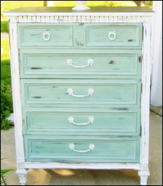 Teal drawers with white. Distressed.