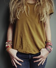 messy hair, simple tee & jeans can make your bracelets stand out