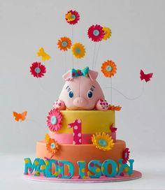 Fun, vibrant piggie cake