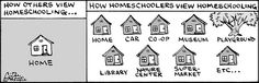 "Why ""homeschooling"" is not a helpful label. ;-) From a great cartoonist and homeschooling mom at http://jugglingpaynes.blogspot.com/"