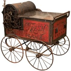 Victorian Hand Painted Peanut Roasting Vending Wagon late 19th Century. Extremely rare street vendor's peanut roasting wagon. This vending cart epitomizes the American manufacturing style and ingenuity of the era. Made by the Bartholomew Company of De Moines Iowa